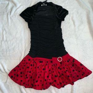 Other - 🐞❤️Black Velvet and Red Polka Dot Dress Size 7